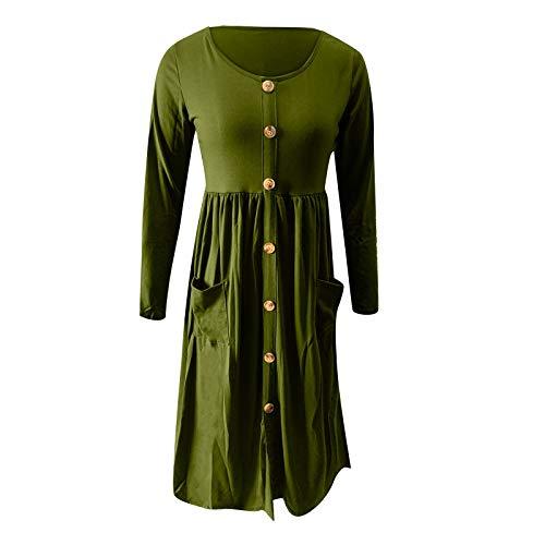 Womens Summer Dress,Women's New Long Sleeve Pocket Button Solid Design Knee Length Dress for Mother's Day Green
