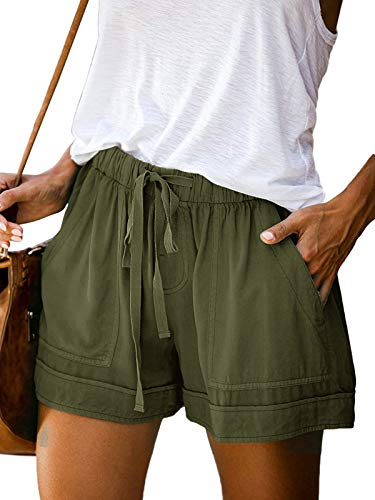 Auxo Mujer Pantalones Cortos Cordón Cintura Elástica Comfy Lounge Casual Pantalones Calientes...