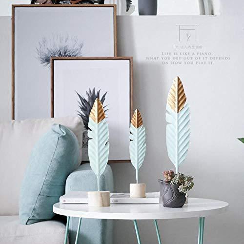 Decoraciones de Madera de Plumas Modernas Mesa Oficina Jardín de Hadas Figuras en Miniatura Moda Navidad Decoración del hogar, L