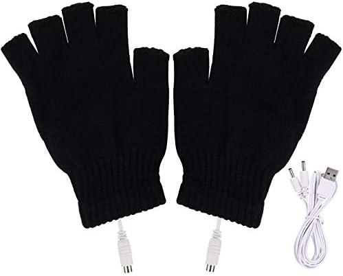 GELRHONR USB Heated Winter Gloves Mitten Hands Warm USB Heater Fingerless Warmer Mitten Gloves Unisex Women's & Men's