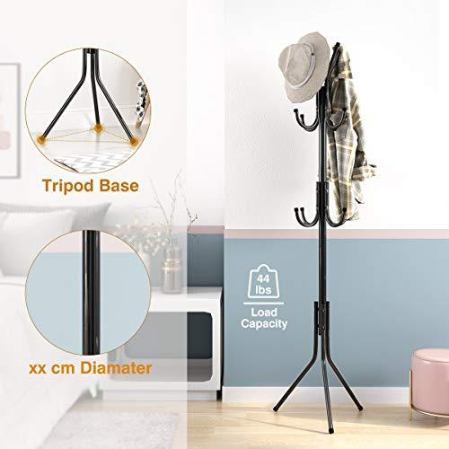 LANGRIA Standing Entryway Coat Rack Coat Tree Hat Hanger Holder 11 Hooks Jacket Umbrella Tree Stand Base Metal (Black)