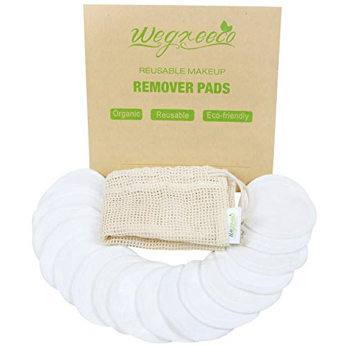 Wegreeco Cotton Rounds Reusable 16 Packs - Reusable Bamboo Makeup Remover Pads for face - Reusable Facial Pads Reusable Facial Cotton Rounds with Laundry Bag (Cotton Velour, White)