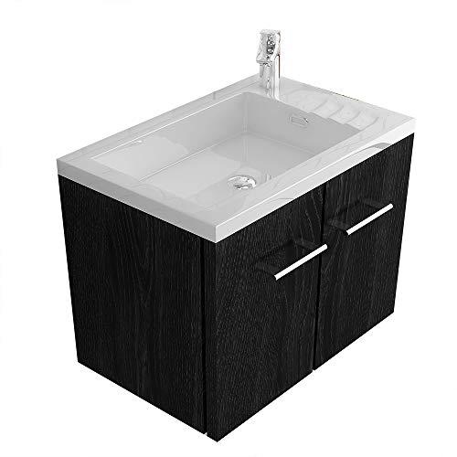 Alpenberger Badmöbel-Set Handwaschbecken mit Überlauf aus hochwertigem Mineralguss | Waschbeckenunterschrank 50 cm mit SoftClose | Elegante&Platzsparende Gäste-WC Lösung (Schwarz)