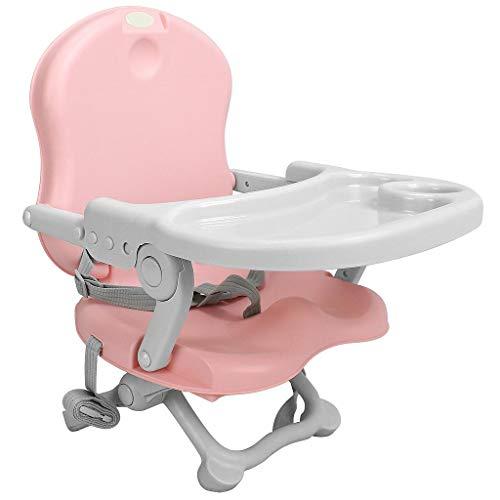 Leogreen - Seggiolino Bambino, Rialzo sedia per bambini, Rosa, Altezza: 38/42/46/50 cm, Accessori: Cintura di sicurezza