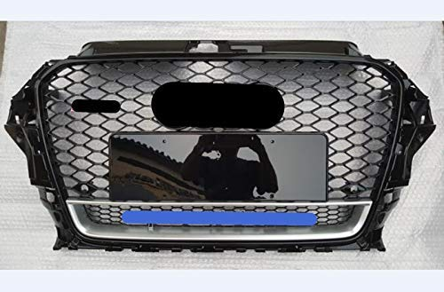 Benutzerdefinierte Vordere Stoßstangenhaube Kühlergrill Auto Mesh Grill Vordere Kühlergrills Gitter Grill Overlay Cover Fit Für Audi A3 / S3 8V 2014 2015 2016 RS3 Quattro