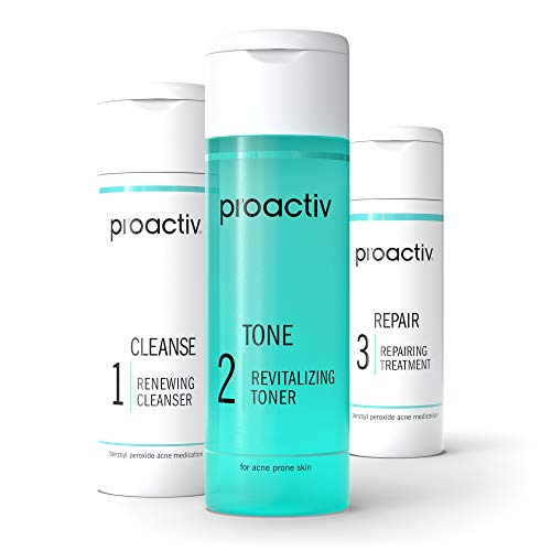 Proactiv 3 Step Acne Treatment - Benzoyl Peroxide Face Wash, Repairing Acne Spot Treatment For Face And Body, Exfoliating Toner - 30 Day Complete Acne Skin Care Kit
