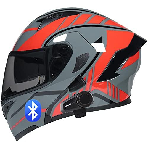 SJAPEX Bluetooth Integrado Casco de Moto Modular con Doble Visera Cascos de Motocicleta ECE Homologado Micrófono Incorporado Se Pueden Conectar Varios Intercomunicadores Bluetooth A,M=57~58cm