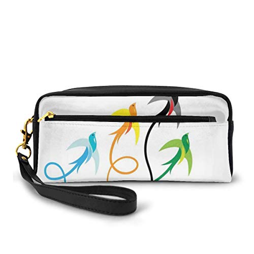 Pencil Case Pen Bag Pouch Stationary,Group of Colorful Swallow Birds Flying to Sky Hope Phoenix Courage Wings Graphic Art,Small Makeup Bag Coin Purse