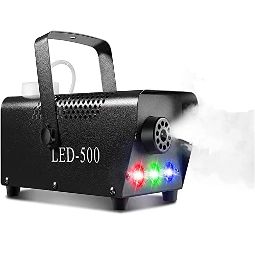 500W Fog Machine, Portable DJ Led Smoke Machine with 3 LED Lights, Wireless and Wired Remote Control, for Halloween…
