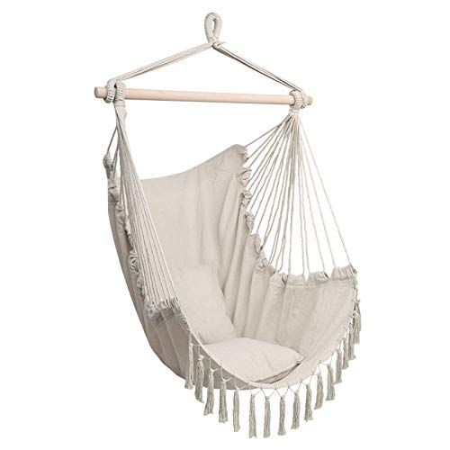 JZJSZB Hammock Chair Hanging, 2 Seat Cushions Included, Indoor and Outdoor Use | Swinging Seat Chair for Patio, Bedroom, or Tree