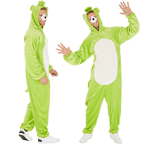 TecTake dressforfun Kostüm Bärenoverall für Sie und Ihn | Aus weichem Plüschstoff | Ideal für Straßenumzüge | inkl. Nase mit Gummiband (Grün L | Nr. 300882)