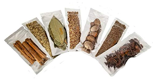 Organic Whole Spices Starter Gift Set - 7 Spice Kit: Bay Leaves, Cinnamon Sticks, Nutmeg, Star Anise, Seeds: Cumin OR Caraway, Coriander OR Allspice, Fennel