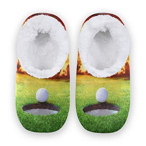 TropicalLife Zapatillas deportivas JNlover con estampado de pelota de golf para mujer y hombre, con parte trasera cerrada, cómodas, de forro polar, para interiores y exteriores, color, talla Large