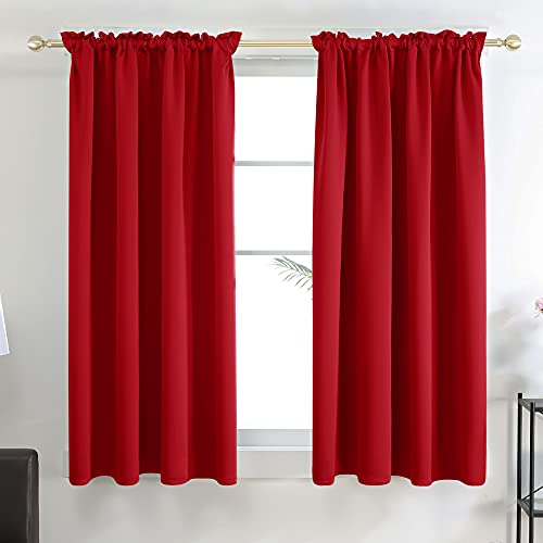 Deconovo Red Curtains Blackout Drapes 63 Inch Length - Thermal Insulated Curtain Panels for Bedroom, True Red, 42W x 63L Inch, Set of 2