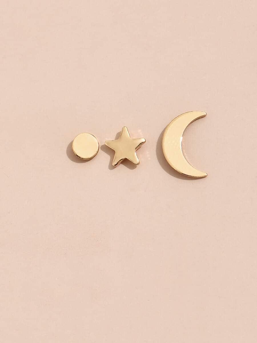 VW Pets Hoop Earrings 3pcs Star & Moon Stud Earring (Color : Gold)
