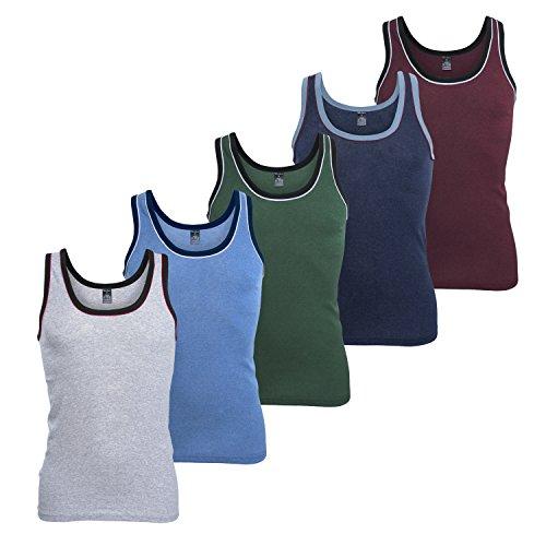 MT Herren Melange Tank Top (5er Pack), Baumwoll Feinripp Unterhemd ohne Arm - Mix mit Grün und Rot 4XL (60-62)