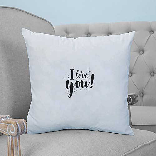ARTSHOWING Throw Pillows for Bed Romance Text Throw Pillow Cover Cushion Case for Sofa I Love You Canvas Home Decor for Couch Bedroom 18x18 inches