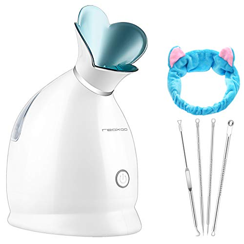 Reakoo Gesichtsdampfer mit Nano-Ionen-Technologie, professioneller Gesichtsnebel mit UV-Licht, feuchtigkeitsspendender Zerstäuber, warmer Nebel, Luftbefeuchter für Zuhause, Spa, Aromatherapie-Gerät