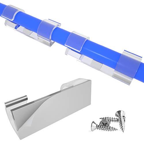 80 Stück Kabelclips Kabelhalter selbstklebend mit Klebstoff Unterlage und Schrauben Kabelklemme Halter Set, für Schreibtisch, Netzkabel, USB Ladekabel, Ladegeräte und Audiokabel(Transparent)