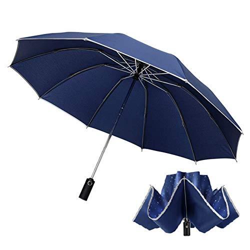 Regenschirm Taschenschirm Windproof Sturmfest mit 10 Rippen und Nachtreflektierende Streifen Auf-Zu-Automatik Sturmfest 190T Teflon Schirm (Blau)