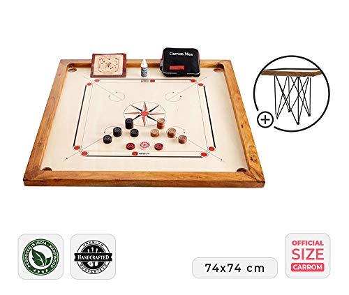 Ubergames Carrom Board Set offizielle Größe 7 kg - Top ECO-Hartholz Qualität - Komplettes Set mit Offiziellen Scheiben und Pulver (Carrom mit Tisch)