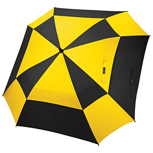 G4Free Extra Large Golf Umbrella Double Canopy Vented Square Umbrella Windproof Automatic Open 62 Inch Oversize Stick Umbrella for Men Women (Yellow+Black)