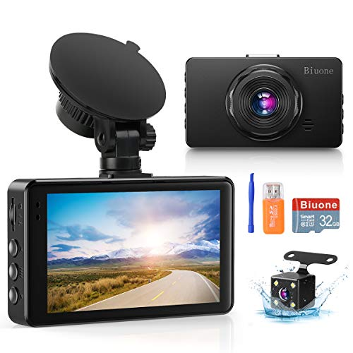Dash Camera for Cars, Super Night Vision Dash Cam Front and Rear with 32G SD Card, 1080P FHD DVR Car Dashboard Camera with G-Sensor, WDR, Parking Monitor, Loop Recording, Motion Detection 【2021 New】