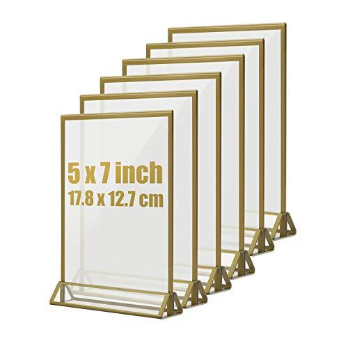 Hengu 6 Stück Thekenaufsteller, Goldenes Seitenklares Doppelseitige Acryl Tischschilder für Hochzeit Party, T-Aufsteller, (12,7 x 17,8 cm/5 x 7 zoll), Nicht für A5