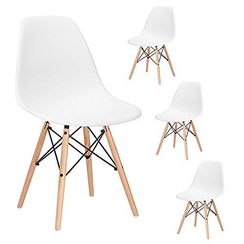SPRINGOS Milano Skandinavischer Stuhl | Set 4 Stühle | Retro Design | 83x46x50 cm | für Wohnzimmer, Esszimmer, Küche, Büro | Weiß