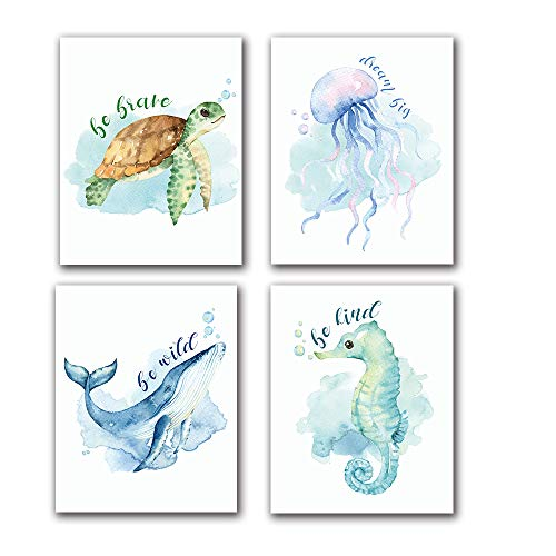 """LONLONBANG Funny Watercolor Ocean Life Quotes Art Print, Canvas Picture Poster for Nursery Kids Girls Bedroom Bathroom Home Decor, Sea Turtle sea Horse Jellyfish Whale, Set of 4 (8""""X10""""), No Frame"""