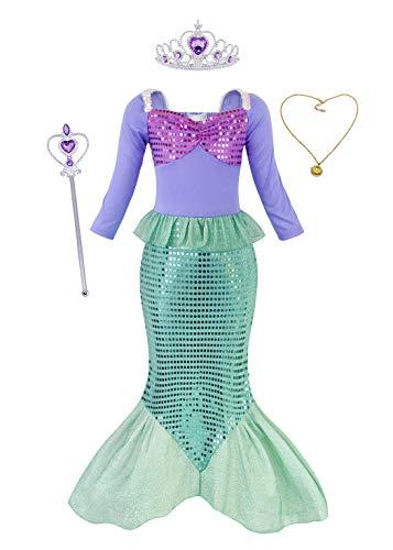 AmzBarley Costume della Sirenetta Vestito vestirsi Ragazza Bambina Coda di Pesce Costumi di Halloween Vestiti Compleanno Carnevale Abiti