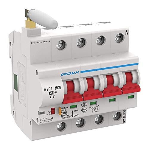 YOUANG Interruptor WiFi Inteligente del Panel del Disyuntor Interruptor Inteligente Enchufable 1P-4P Interruptor Iot de Control Remoto Inalámbrico (Aplicación: Ewelink) Programación del