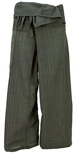 Pantaloni da Pescatore Thailandese in Tessuto a Righe, Pantaloni a Portafoglio, Pantaloni da Yoga, M/L Verde Oliva, Cotone, Dimensione Indumenti:One Size, Pantaloni da Pescatore Pantaloni da Yoga