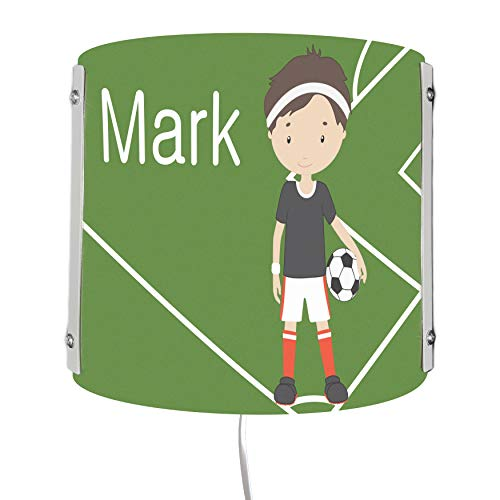 CreaDesign WA-1011, Fußball, Kinderzimmer Wandlampe personalisiert mit Namen, Nachtlicht/Schlummerlicht für Steckdose, E14, 22 x 22,5 x 85 cm