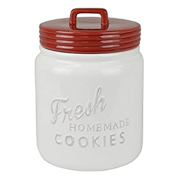 DII Vintage Retro Farmhouse Chic Mason Jar Inspired Ceramic Kitchen Canister Cookie Jar With Airtight Lid For Food Storage Store Cookies Crackers Chips and More - Red