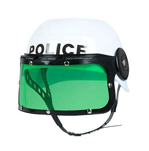Boland 01391 - Kinderhelm Police, Visirhelm Polizist, schwarz-weiß, Kinnriemen, grünes Visir hochklappbar, Kostüm, Karneval, Mottoparty