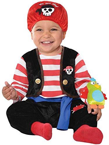 amscan Déguisement de pirate bébé avec bandeau rouge et jouet perroquet - 0-6 mois - 846802-55