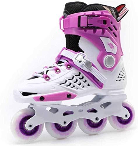 Patines en línea de una hilera profesional, hombres y mujeres, zapatos de patinaje de velocidad ajustables al aire libre para niños/niñas/jóvenes/adultos/principiantes-blanco rojo