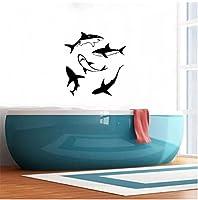 ビニール壁アップリケサメ浴室装飾コンセプトインテリア壁画、浴室壁ステッカー装飾57x59cm
