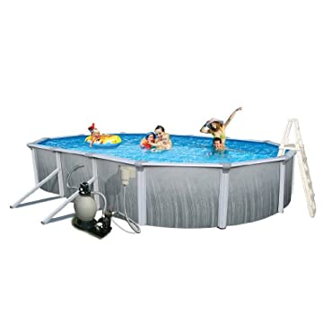 Blue Wave Martinique 21' by 41' Oval 52 Deep 7 Top Rail Metal Wall Swimming Pool Package