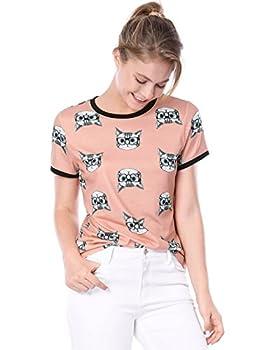 Allegra K Women s Short Sleeve Contrast Cartoon Cat Pet Print Tee Ringer T-Shirt Tops X-Large Pink