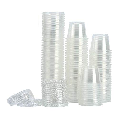 Price comparison product image [200Sets-1oz] Small Plastic Containers With Lids, Plastic Cups With Lids , Jello Shot Cups, Souffle Cups, Condiment Sauce Cups