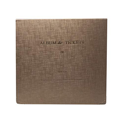Ardermu Fahrkarte Stub-Organizer - 100 Taschen Leder Fahrkarte Stub Album für Sport Film Konzert-Banknote Rechnung Sammlung (Braun)