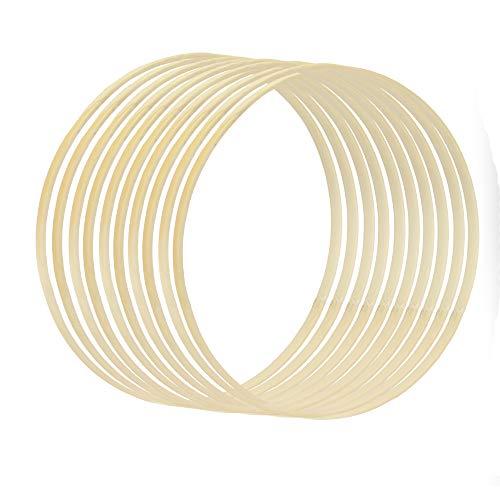 Bambus Bastelringe - 10er Set | 20CM hölzerne Traumfänger Creolen | Kranz Ring | Makramee-Holzreifen | DIY Handwerk Ringe | Pukkr