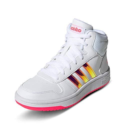 adidas Unisex-Kinder Hoops MID 2.0 K Sneaker, Ftwbla/Ftwbla/Rossen, 38 2/3 EU