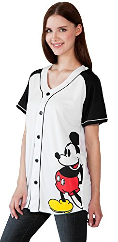 Disney Mickey Mouse Womans Jersey Shirt Button (White - Mickey, Medium)