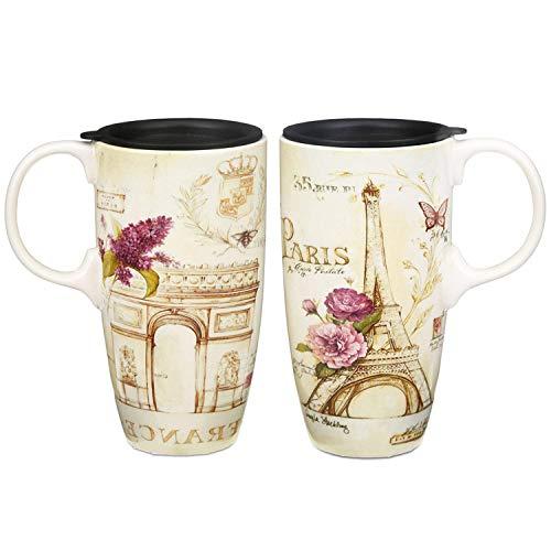 YHNJI Keramiktasse für Latte / Tee aus Porzellan, mit Deckel, in Geschenkbox, ca. 500 ml, Eiffelturm, Frankreich, 2 Stück