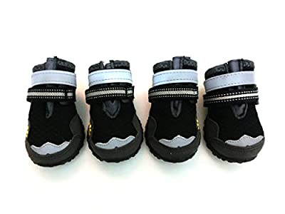 Lymenden Breathable Dog Boots,Mesh Dog Shoes,Paw Protectors with Reflective and Adjustable Straps and Wear-Resisting Soles,4pcs (8, Black)