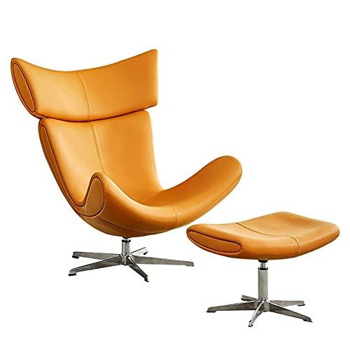 HFQJTU Swivel Sessel PU-Leder Single Sofa Lazy Sofa Stuhl mit Osmanen Wohnzimmer, Schlafzimmermöbel, für Kinder, Teenager (Color : Brown)