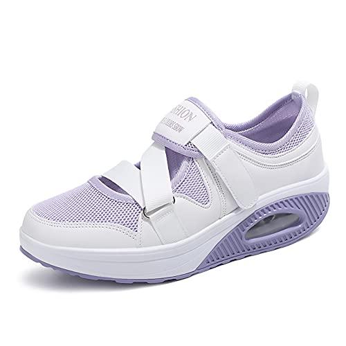 A/U Zapatos deportivos para mujer, pies transpirables, cómodos, ortopédicos, zapatos deportivos de moda, antideslizantes, resistentes al desgaste, Purple, 37 EU